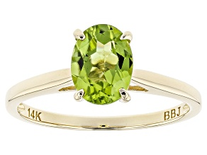 Green Peridot 14k Yellow Gold Ring 1.15ct