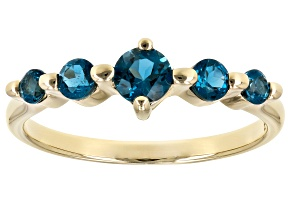 London Blue Topaz 10k Gold 5-Stone Ring .64ctw
