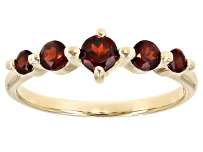 Red Round Garnet 10K Gold 5-Stone Ring .70ctw