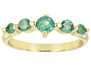 Green Zambian Emerald 10k Yellow Gold Ring .49ctw