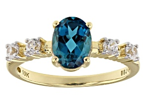 London Blue Topaz 10k Yellow Gold Ring 1.62ctw