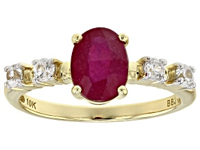 Red Mahaleo®  Ruby 10k Yellow Gold Ring 1.81ctw
