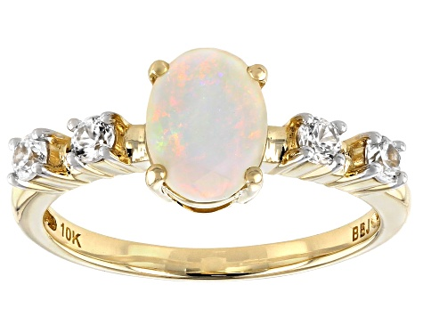 White Opal 10k Yellow Gold Ring .34ctw