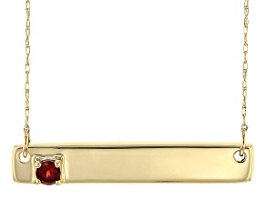 Red Garnet 10k Yellow Gold Bar Necklace .12ct