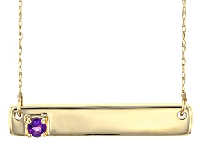 Purple African Amethyst 10k Yellow Gold Bar Necklace .10ct