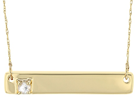 White Zircon 10k Yellow Gold Bar Necklace .12ct