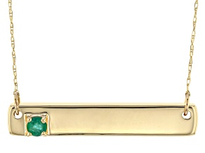 Green Emerald 10k Yellow Gold Bar Necklace .11ct