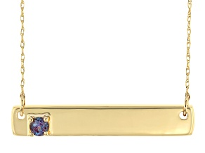 Color Change Lab Created Alexandrite 10k Yellow Gold Necklace .11ct