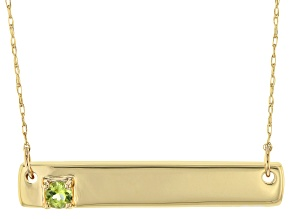 Green Peridot 10k Yellow Gold Bar Necklace .11ct