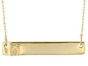 Multicolor Ethiopian Opal 10k Yellow Gold Bar Necklace .08ct