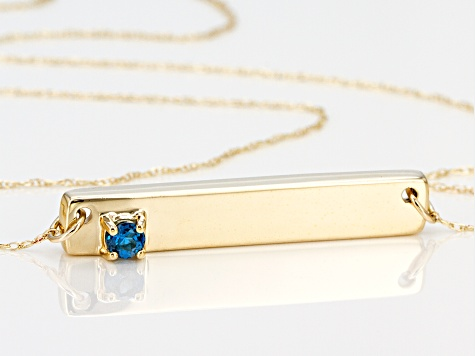 London Blue Topaz 10k Yellow Gold Bar Necklace .12ct