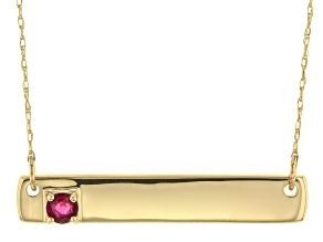 Red Mahaleo® ruby 10k Yellow Gold Bar Necklace .12ct