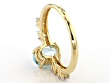 Blue Aquamarine 10k Yellow Gold Ring 1.19ctw
