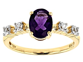 Purple Amethyst 10k Yellow Gold Ring 1.32ctw