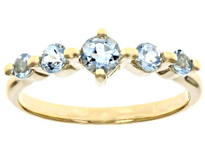Blue Aquamarine 10k Yellow Gold Ring .48ctw
