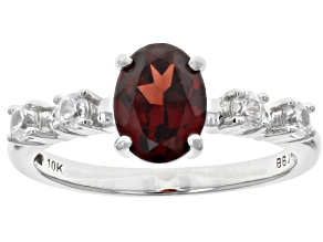 Red Vermelho Garnet™ Rhodium Over 10k White Gold Ring 1.64ctw