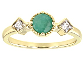 Green Sakota Emerald And White Zircon 14K Yellow Gold 3-Stone Ring .57ctw