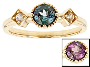 Blue Lab Alexandrite 14K Gold Ring 0.74ctw