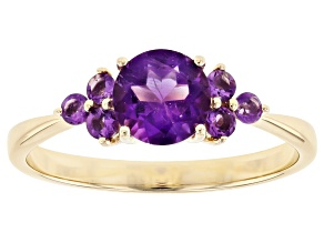 Purple Amethyst 10k Yellow Gold Ring .81ctw