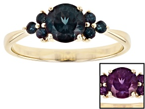 Blue Lab Created Alexandrite 10k Gold Ring 1.10ctw