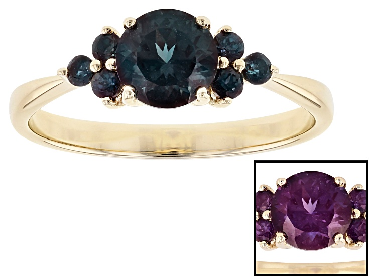 ad826496e39d1 Blue Lab Created Alexandrite 10k Gold Ring 1.10ctw