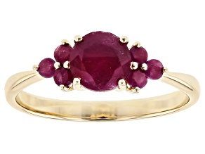 Red Ruby 10k Yellow Gold Ring 1.36ctw
