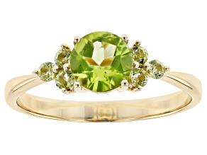 Green Peridot 10k Yellow Gold Ring 1.10ctw