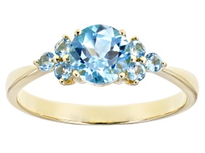 Swiss Blue Topaz 10k Yellow Gold Ring 1.05ctw