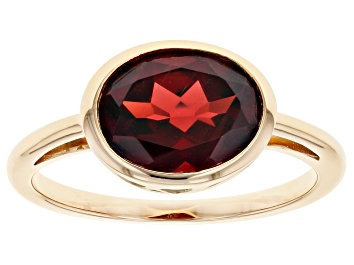 Picture of Red Garnet 10k Yellow Gold Solitaire Ring 2.98ct.