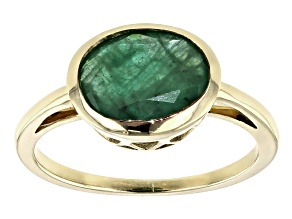 Green Emerald 10k Yellow Gold Ring 2.04ct