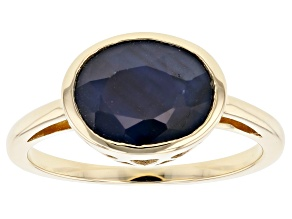 Blue Sapphire 10k Yellow Gold Ring 1.96ct