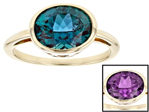 Blue Lab Created Alexandrite 10k Yellow Gold Ring