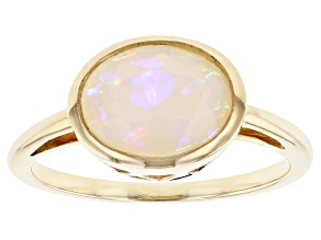Multi-Color Ethiopian Opal 10k Gold Ring 1.31