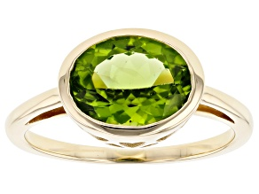 Green Peridot 10k Yellow Gold Ring 2.44ct