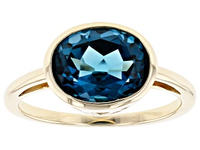 London Blue Topaz 10k Yellow Gold Ring 2.76ct