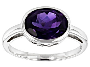 Purple Amethyst Rhodium Over 10k White Gold Ring 1.96ct