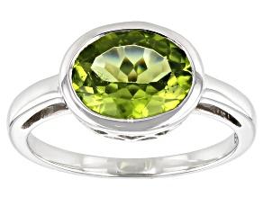 Green Peridot Rhodium Over 10k White Gold Ring 2.29ct