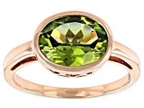 Green Peridot 10k Rose Gold Ring 2.29ct