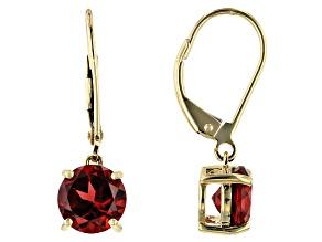 Red Garnet 10k Yellow Gold Dangle Earrings 2.75ctw