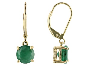 Green Emerald 10k Yellow Gold Dangle Earrings 2.55ct