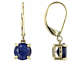 Blue Sapphire 10k Yellow Gold Dangle Earrings 2.38ctw
