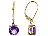 Purple Amethyst 10k Yellow Gold Dangle Earrings 2.07ctw