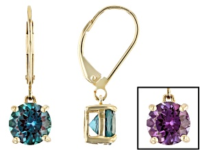 Blue Lab Created Alexandrite 10k Yellow Gold Earrings 2.63ctw