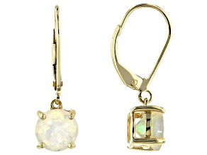 Multi-Color Ethiopian Opal 10k Yellow Gold Dangle Earrings 1.79ctw