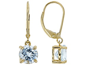 Blue Aquamarine 10k Yellow Gold Dangle Earrings 1.96ct