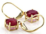 Red ruby 10k Yellow Gold Dangle Earrings 3.50ctw