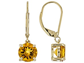 Golden Citrine 10k Yellow Gold Dangle Earrings 2.07ct