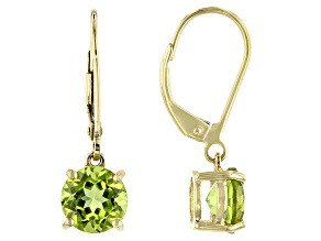 Green Peridot 10k Yellow Gold Dangle Earrings 2.45ctw