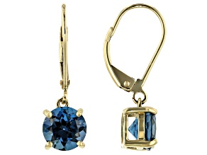 Blue Topaz 10k Yellow Gold Dangle Earrings 2.86ctw