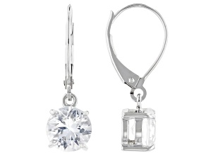 White Zircon Rhodium Over 10k White Gold Dangle Earrings 3.06ctw